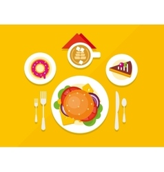 Food objects on table flat design vector