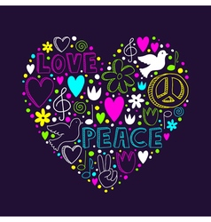 Doodle elements on love and peace theme in heart vector