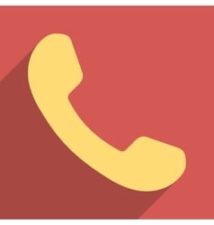 Phone receiver flat longshadow square icon vector