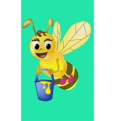 Cartoon bee carries honey vector