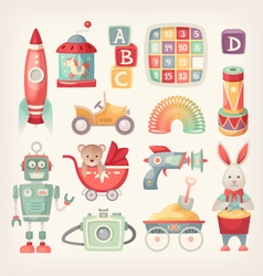 Colorful vintage toys vector