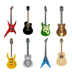 Acoustic and electric guitars icons vector