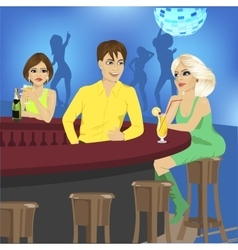 Bartender talks to blonde sitting at bar counter vector