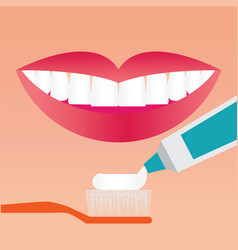 Beautiful smiling mouth with beautiful healthy vector