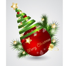 Christmas card with red ball vector