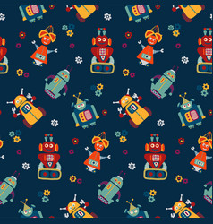 colorful seamless pattern with retro robots vector image vector image
