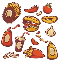 fastfood objects vector image vector image