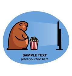 Fat hamster watching tv vector