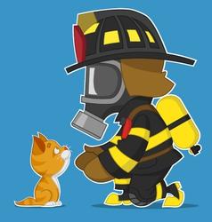 Firefighter and kitten vector