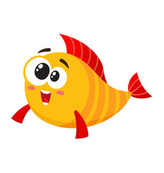 funny golden yellow fish character with smiling vector image vector image