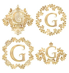 Golden letter g vintage monograms set heraldic vector