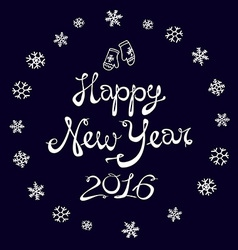 Happy New Year Card 2016 snowflake vector image
