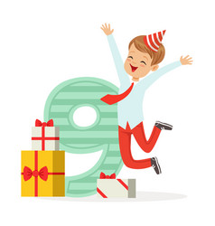 happy nine year old boy celebrating his birthday vector image vector image