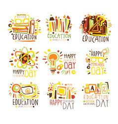 Happy teachers day colorful graphic design vector