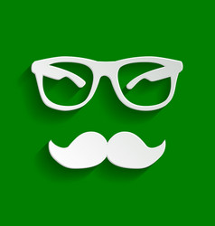 Mustache and glasses sign paper whitish vector