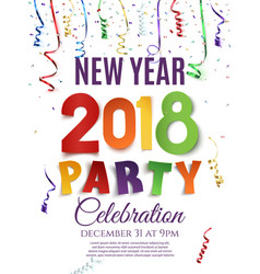 new year 2018 party poster vector image vector image