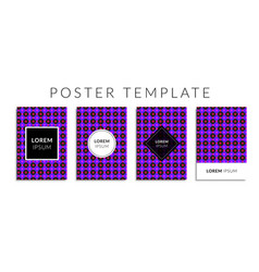 Poster set with violet color circle shape pattern vector