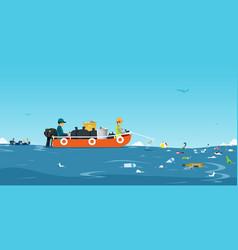 sea garbage boat vector image