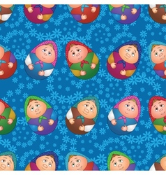 Seamless dolls and floral pattern vector image