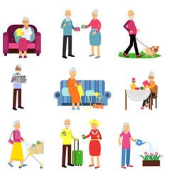 senior man and woman activities set elderly vector image vector image