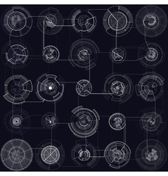 Set of abstract hud elements isolated on black vector