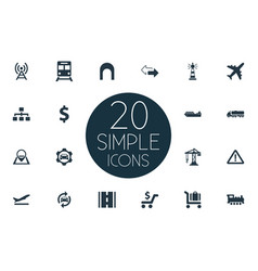 set of simple city icons vector image