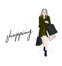 stylish woman going on shopping girl with vector image vector image