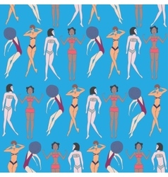 Summer seamless pattern of doodled women vector image vector image