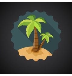 Summer travel sea island with palm flat icon vector