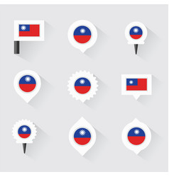 Taiwan flag and pins for infographic and map vector