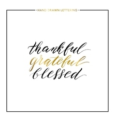 Thankful grateful blessed gold lettering vector image