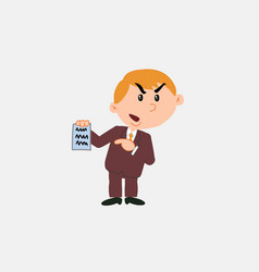 white businessman angry showing a document vector image vector image