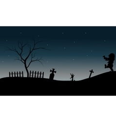 Zombie walking in tomb halloween vector image vector image
