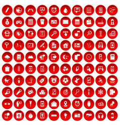 100 mobile app icons set red vector