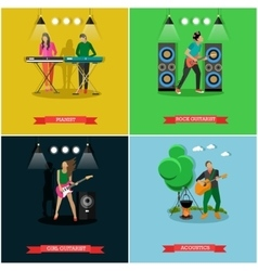 Set of banners with musicians playing vector