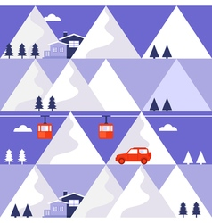Mountain winter seamless pattern vector