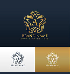 Letter a logo concept design with star shape vector