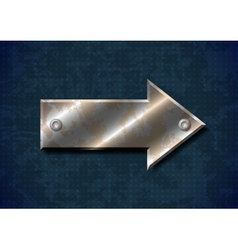 Rusty metal arrow with rivets on grungy background vector