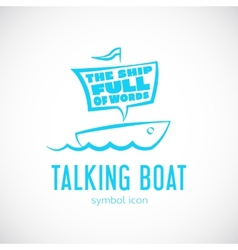 Talking Cloud and Sailing Boat Concept Symbol Icon vector image