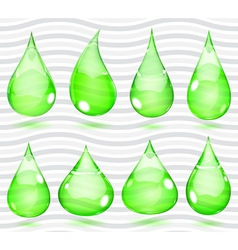 Transparent green drops vector