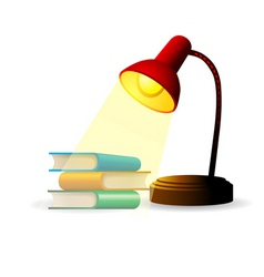 Study lamp with books vector