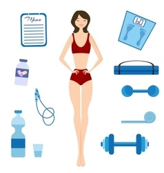 Slimming girl and healthy lifestyle vector