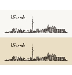 Toronto skyline canada vintage engraved hand drawn vector