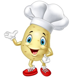 Cartoon chef potato waving hand vector