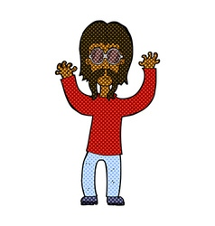Comic cartoon hippie man waving arms vector