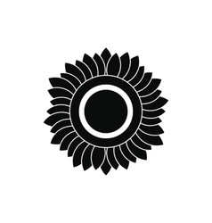 Sunflower black simple icon vector