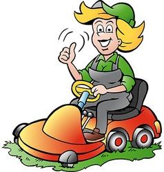 Cartoon of a Handy Gardener Woman riding on a vector image