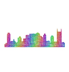 Nashville skyline silhouette - multicolor line art vector