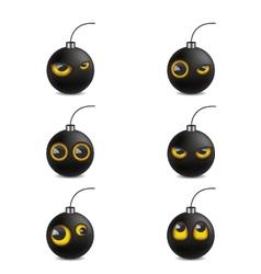 Bomb emoticon cartoon vector image