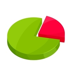 Pie chart icon in cartoon style vector